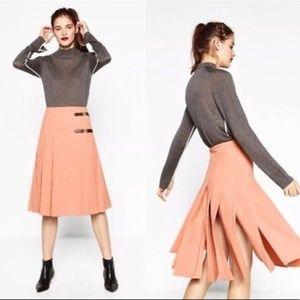 Zara Brand New Pleated Midi Skirt